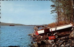 View of Lake and Boat Postcard