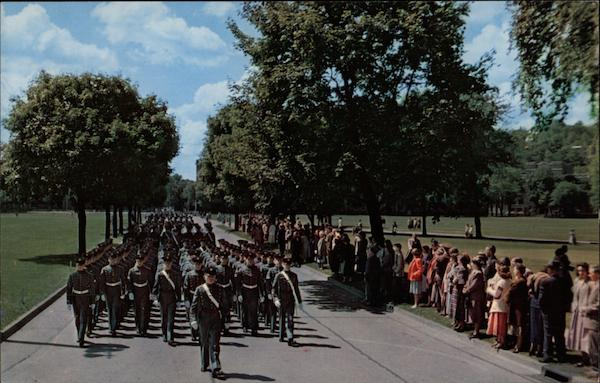 View of the Cadet Corps Marching to Trophy Point West Point New York
