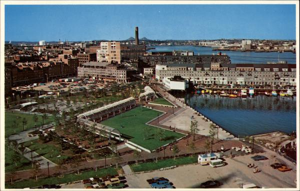 Waterfront Park and Commercial Wharf, Along Boston Harbor Massachusetts
