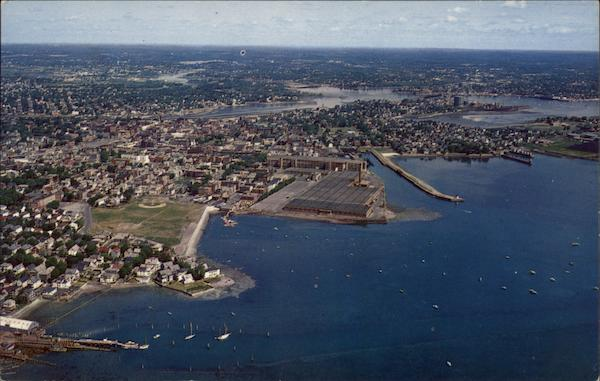 Air view of Derby Wharf and Salem Harbor Massachusetts