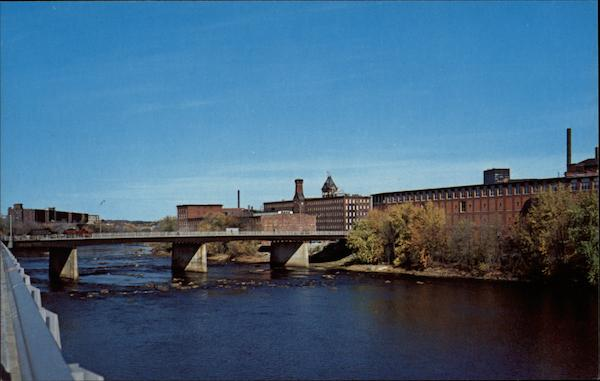 View of city and Merrimack River Manchester New Hampshire