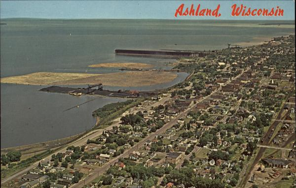 Aerial View of Town and Shoreline Ashland Wisconsin