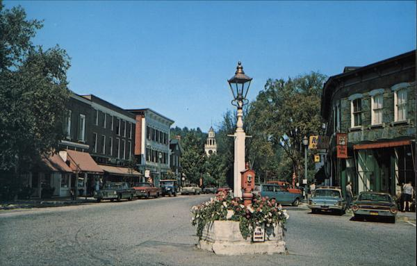 The Hub of Woodstock at Elm and Central Streets Vermont