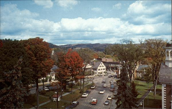 Aerial view of Town Center Woodstock Vermont