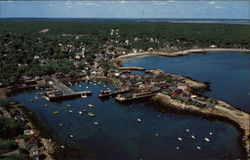 Air view of Bearskin Neck, Front Beach, and the Yacht Club and Harbor