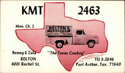 "KMT 2463 Mon Ch. 2 , Belton's Moving ""The Texas Cowboy"": Postcard"