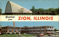 Christian Catholic Church Auditorium and Zion-Benton Hospital Postcard