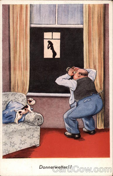 Man Watching Nude Woman With Binoculars Comic, Funny