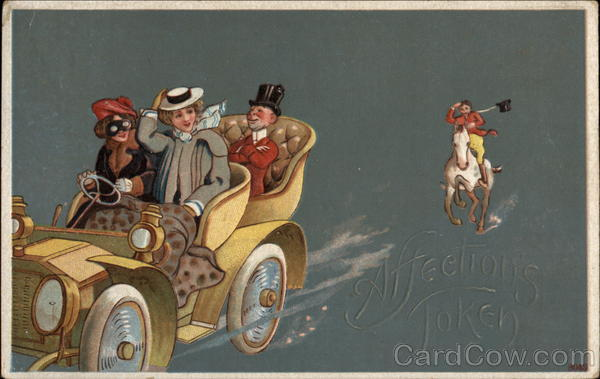 Affection's Token - Women in a Car being Chased by a Huntsman