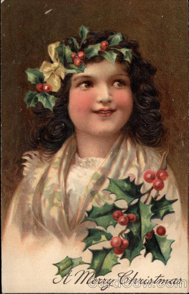A Merry Christmas - Girl with Holly Children