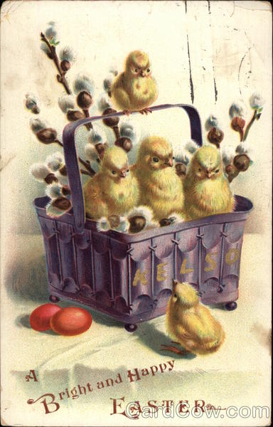 A Bright and Happy Easter - Chicks in a Basket With Chicks
