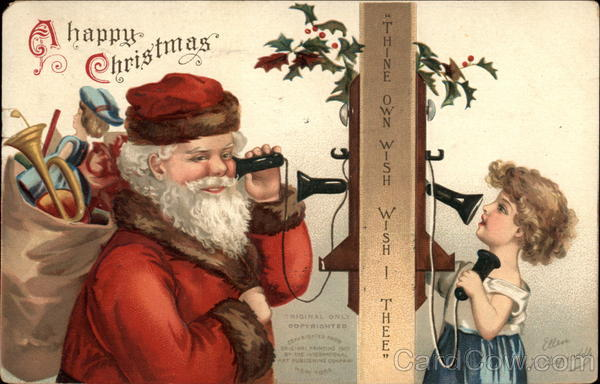 A Happy Christmas - Santa Claus and Girl on the Telephone