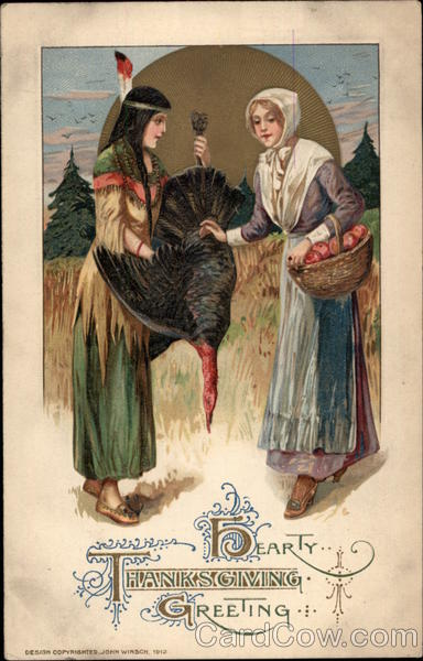 Hearty Thanksgiving Greeting Old Postcard