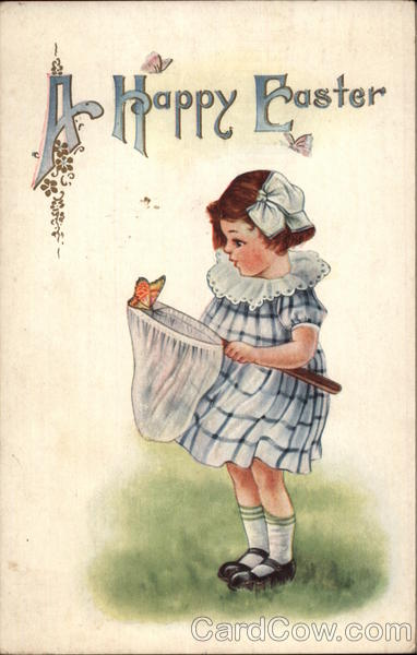 A Happy Easter - Girl with Butterfly Net With Children