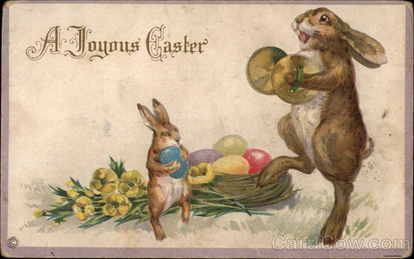 A Joyous Easter - Rabbits and Eggs With Bunnies