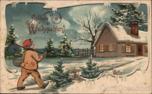 frohliche weihnachten merry christmas snowy scene. Black Bedroom Furniture Sets. Home Design Ideas
