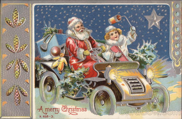 A Merry Christmas - Santa and Child in a Vintage Car Vintage Postcard