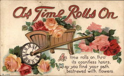 As Time Rolls On Wheelbarrow with Flowers and Clock