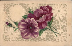 2 purple flowers, 1 bud Postcard