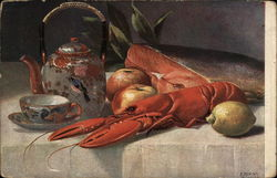 Still Life with Lobster, Fruit and Tea-Pot by E. Dorno