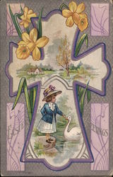 Easter Greetings - Cross with Girl and Swan
