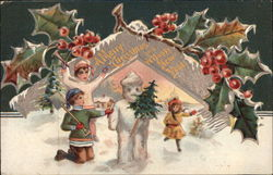A Merry Christmas and A Happy New Year -Children and Snowman