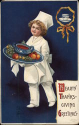 Hearty Thanksgiving Greetings - Boy in Chef's Dress with Platter