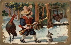 Thanksgiving Greetings - Boy with Gun and Turkeys