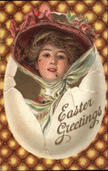 Easter Greetings - Young Woman and Egg