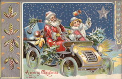 A Merry Christmas - Santa and Child in a Vintage Car