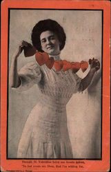 Woman with String of Valentine Hearts