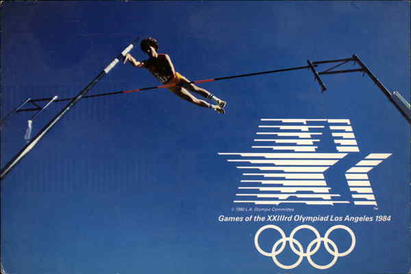 Pole Vault, an event in the Los Angeles 1984 Olympics California