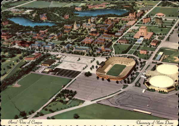 Aerial view of Notre Dame South Bend Indiana
