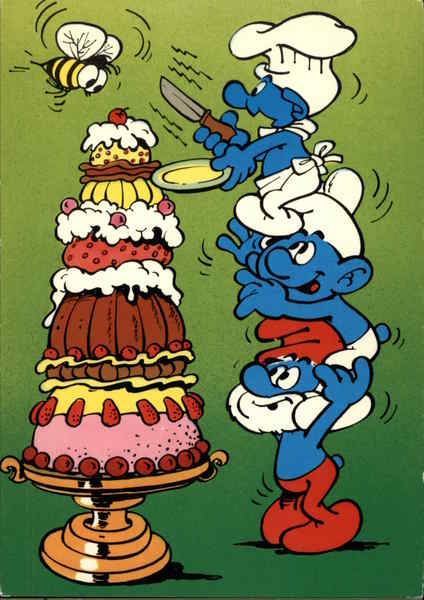 Pyramid of Smurfs Attempt to Cut a Tall Cake Cartoons