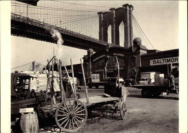 Brooklyn Bridge, With Pier 21, Pennsylvania R.R., 1937 New York