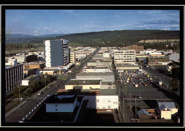 Aerial view of Prince George BC Canada British Columbia