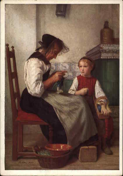 Grandmother and Young Girl by Albert Anker Art
