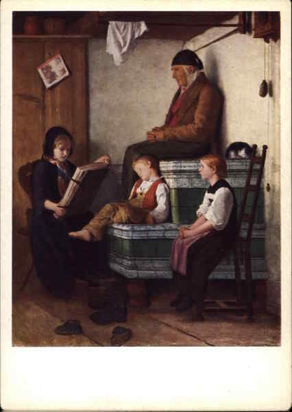 Grandfather and Children by Albert Anker Art