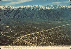 Aerial view of Pasadena and San Gabriel Mountains