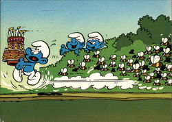 A Smurf Runs With a Birthday Cake While Chased by a Swarm of Bees