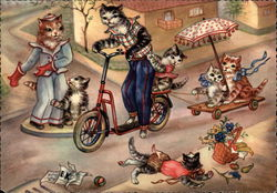 Cats on scooters, playing in street