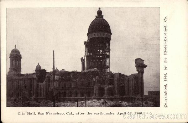 City Hall after the earthquake, April 18, 1906 San Francisco California