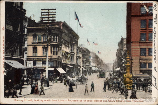 Kearny Street, Looking North From Lotta's Fountain at Junction Market and Geary Streets San Francisco