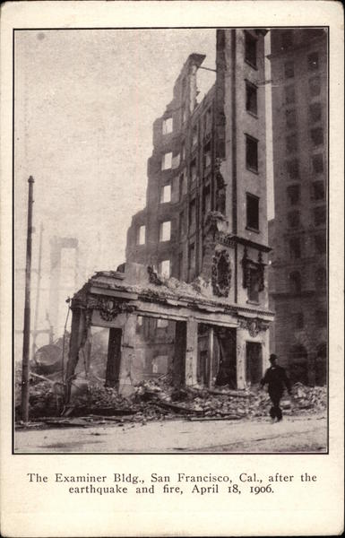 San Francisco Examiner Building After the 1906 Earthquake California
