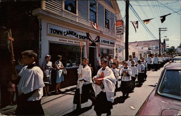 Parade on Commercial Street on Blessing of the Fleet Day Cape Cod Massachusetts