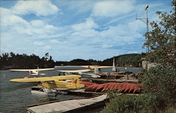View of Dock of Lakeland Airways on Lake Timagami Temagami Canada