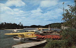 View of Dock of Lakeland Airways on Lake Timagami