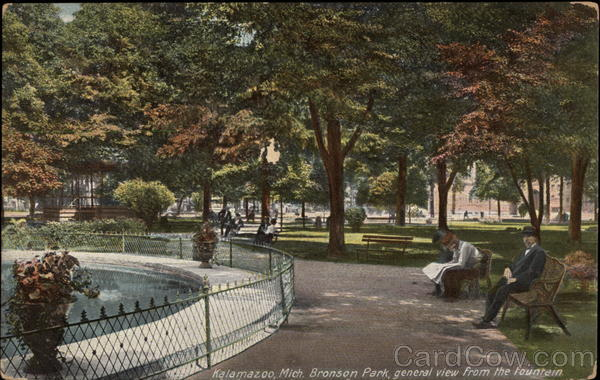 General View From the Fountain, Bronson Park Kalamazoo Michigan