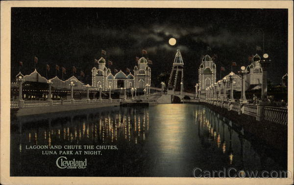 Lagoon and Chute the Chutes, Luna Park at Night Antique Postcard