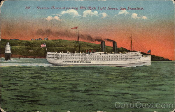 Steamer Harvard passing Mile Rock Light House San Francisco California
